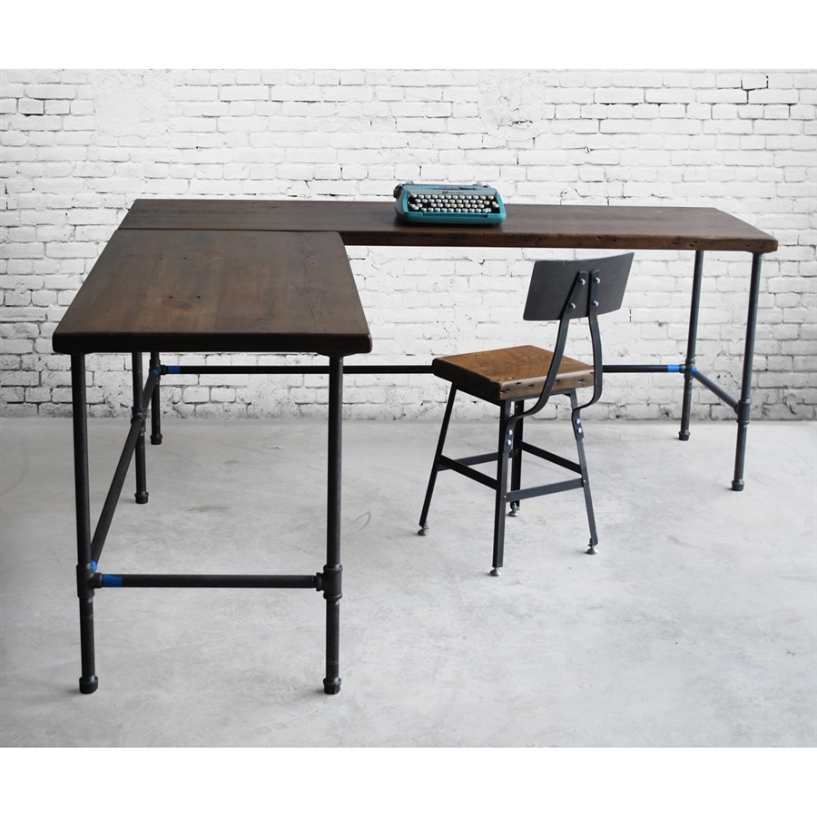 shaped steel legs solid desk market etsy rustic w il l wood butcher tube top