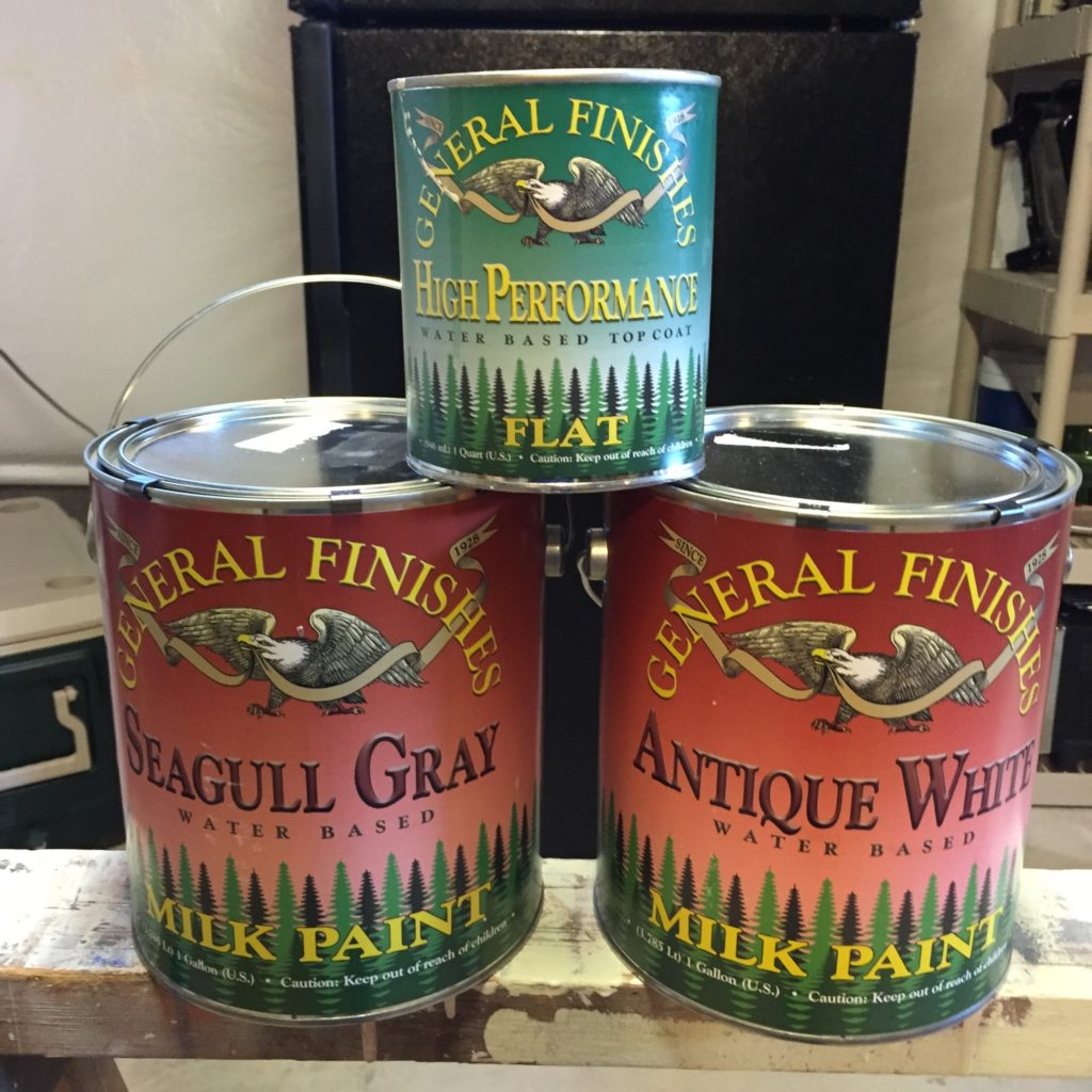 General Finishes Chalk Paint in Seagull Gray and Antique White and a flat top coat.