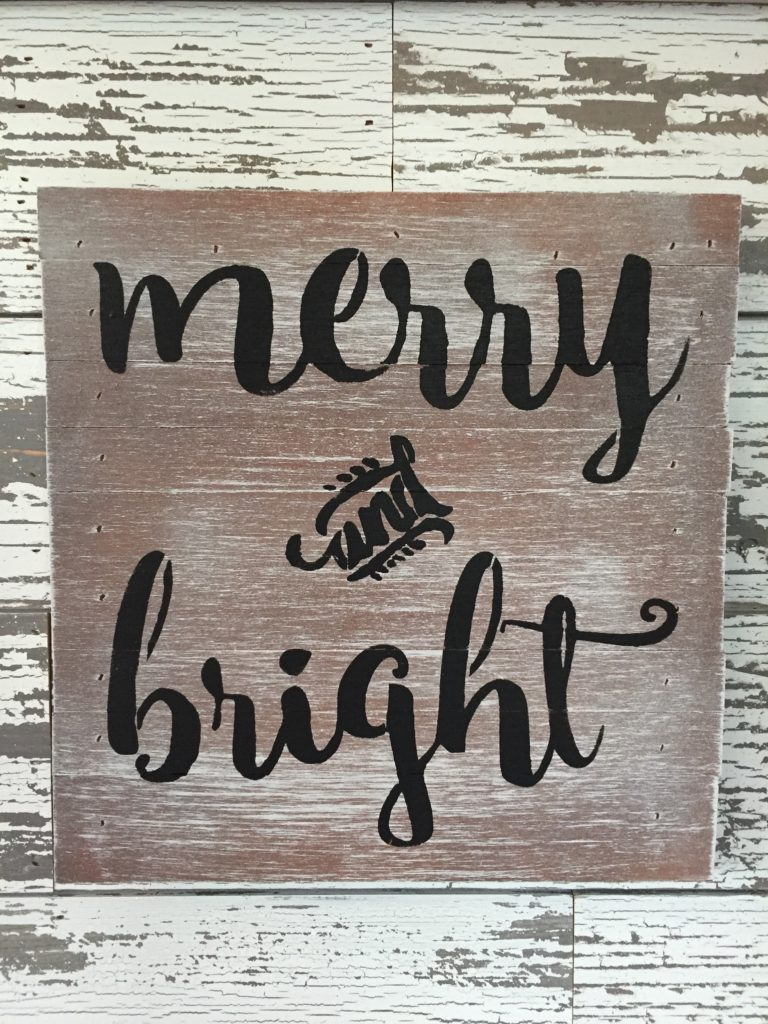 Merry and Bright Sentiment Sign